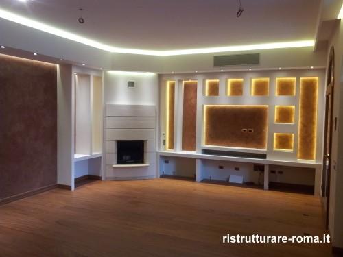 Foto opere in cartongesso ristrutturazione casa roma for Pareti attrezzate in cartongesso foto