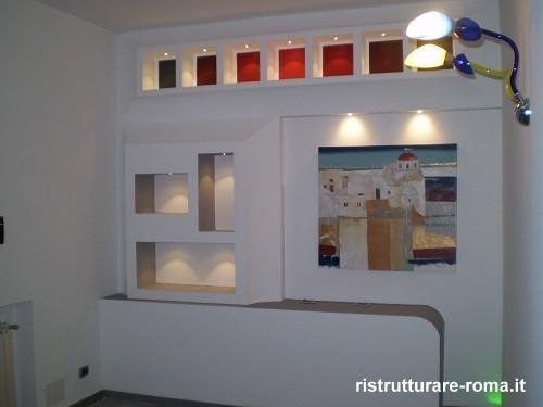 Prezzi lavori in cartongesso roma ristrutturazione for Parete attrezzata in cartongesso immagini
